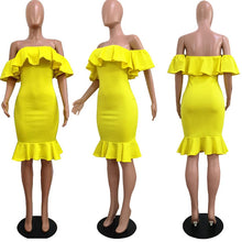 Load image into Gallery viewer, Elegant Yellow Off Shoulder Party Short Dress Women Sexy Backless Ruffles Sleeve Club Dresses Female Clothing