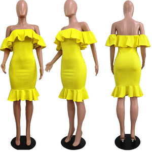Elegant Yellow Off Shoulder Party Short Dress Women Sexy Backless Ruffles Sleeve Club Dresses Female Clothing
