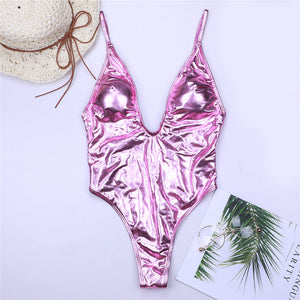 Deep V Women Swimwear One Piece Swimsuit Monokini Backlace Push Up Bikini Beachwear Bathing Suit Female Bronzing