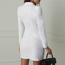 Load image into Gallery viewer, Elegant black women blazer dress short Office long sleeve dress plus size Double breasted white suit ladies dresses