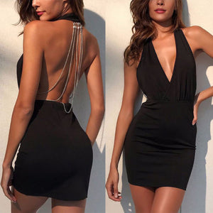 Sexy Women Dresses Summer Backless Deep V Rhinestone Bodycon Sleeveless Halter Party Club Mini Dress