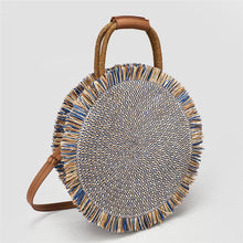 Load image into Gallery viewer, Fashion tassel Handbag Straw bag Women beach woven bag Round Tote fringed Shoulder Travel bag