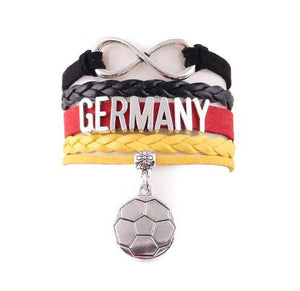 2018 Germany bracelet soccer charm leather wrap bangles