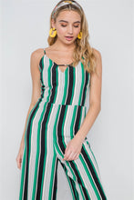 Load image into Gallery viewer, Green Stripe Cami Wide Leg Capri Jumpsuit