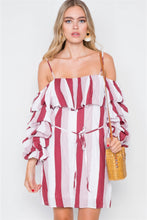 Load image into Gallery viewer, Puff-sleeve Stripe Cami Boho Dress