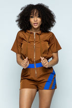 Load image into Gallery viewer, Short Sleeve Zippered Front Multi-colored Romper With Drawstring