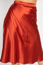 Load image into Gallery viewer, A-line Satin Midi Skirt