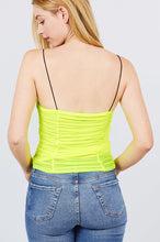 Load image into Gallery viewer, V-neck W/shirring Detail Elastic Strap Mesh Cami Top
