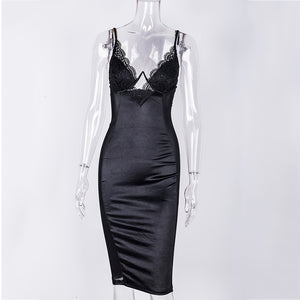 Mesh Sexy Dress Women Summer Bodycon Dresses Bustier Satin Lace Side Sheer Cups Party Dress See Through
