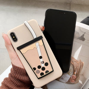 For iPhone 7 Plus X XR XS Max Case Funny Milk Bubble Tea Drink Bottle Pattern Phone Case For iPhone 8 6 Plus Soft Silicone Cover