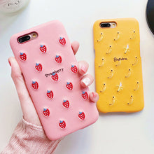 Load image into Gallery viewer, Cute Candy Color PU Embroidery Fruit Pattern Phone Case For iphone X 6 6S 7 8 Plus Cute Banana Strawberry Hard PC Back Cover