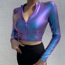 Load image into Gallery viewer, Laser Effect Zipper Woman Tops Skinny Holographic Sexy Party Clubwear Long Sleeve Bodycon Short Style Hoodies Holiday