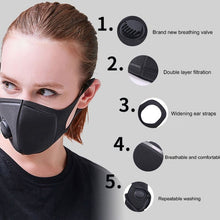 Load image into Gallery viewer, Unisex Sponge Dustproof PM2.5 Pollution Half Face Mouth Mask With Breath Valve Wide Straps Washable Reusable Muffle Respirator