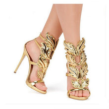 Load image into Gallery viewer, Leather Sandals Women Gold Leaf Flame Gladiator Sandal Shoes Party Dress Shoe Woman Patent High Heel Sandals