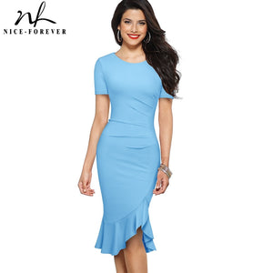 Nice-forever Vintage Elegant Mermaid Ruffle vestidos Business Party Office Sheath Bodycon Women Dress B582
