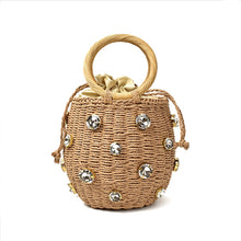 Load image into Gallery viewer, 2020 New Handmade Rhinestone Crystal Embellished Straw Bag Small Straw Bucket Bags Lady Travel Purses and Handbags