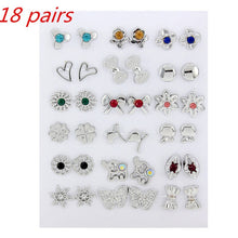 Load image into Gallery viewer, 36Pairs/18pairs Earrings Mixed Styles Rhinestone Sun Flower Geometric Animal Plastic Stud Earrings Set For Women Girls Jewelry