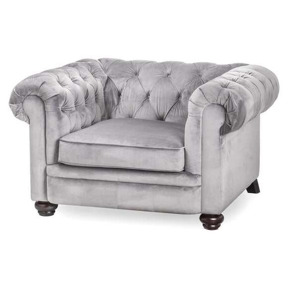 Grey Velvet Chesterfield Armchair