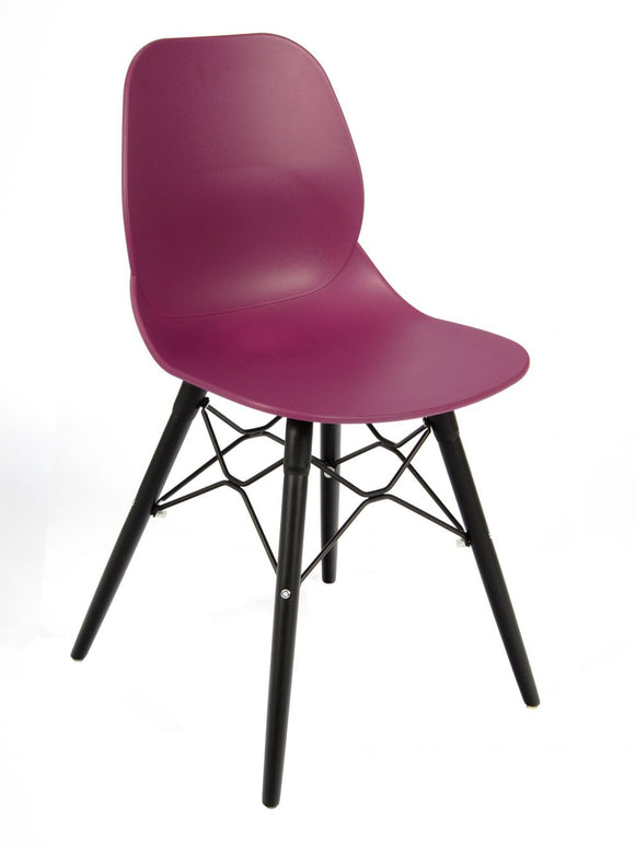 Shoreditch Chair, Black Frame, Plum