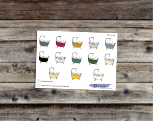 $2 TUESDAY bathtime dark colors doodle icons stickers