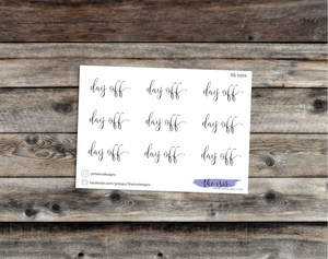 $2 TUESDAY day off script font stickers