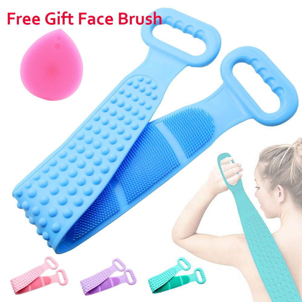 Deep Cleaning Bath Shower Silicone Body Brush Bath Belt Exfoliating Back Brush Belt Wash Clean 28'' Bath Scrub Belt Beauty Tools - edenbeautyboutique
