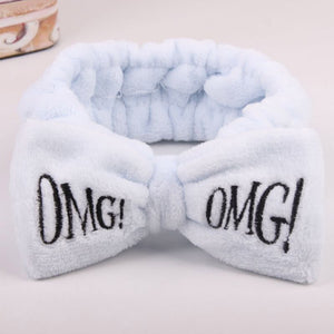 2020 New OMG Letter Coral Fleece Wash Face Bow Hairbands For Women Girls Headbands Headwear Hair Bands Turban Hair Accessories - edenbeautyboutique
