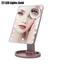 Cargar imagen en el visor de la galería, 22 LED Light Touch Screen Makeup Mirror 10X Magnifying Glass Compact Vanity Mirror Flexible Cosmetics Mirrors - edenbeautyboutique