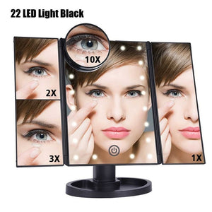 22 LED Light Touch Screen Makeup Mirror 10X Magnifying Glass Compact Vanity Mirror Flexible Cosmetics Mirrors - edenbeautyboutique
