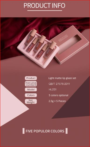 5PCS MATTE GLAZED LIPSTICK SET