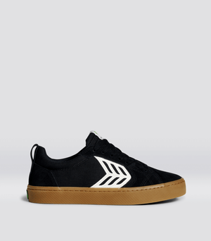 CATIBA PRO Skate Gum Black Suede and Canvas Ivory Logo Sneaker Men