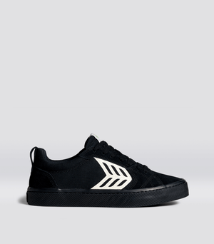 CATIBA PRO Skate All Black Suede and Canvas Ivory Logo Sneaker Men