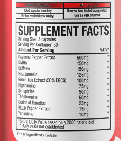 OxyBurn Supp Facts-Full Ingredient List