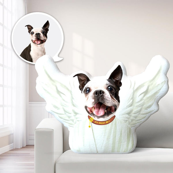 Angel Wings Photo Pillow Dog Face Pillow Personalized Pet Pillow