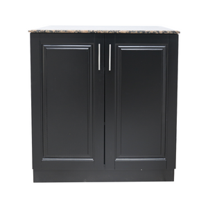 Chelsea Hair Salon Storage Cabinet - Black with Natural Granite - Factory-Direct Clearance Sale