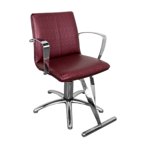 From the Showroom: Salvador American-Made Hair Salon Styling Chair - Hexx Maroon - Factory-Direct Clearance Sale