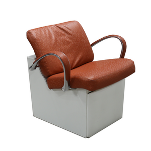 From the Showroom: Sophia American-Made Shampoo Chair with Legrest - Hexx Orange - Factory-Direct Clearance Sale