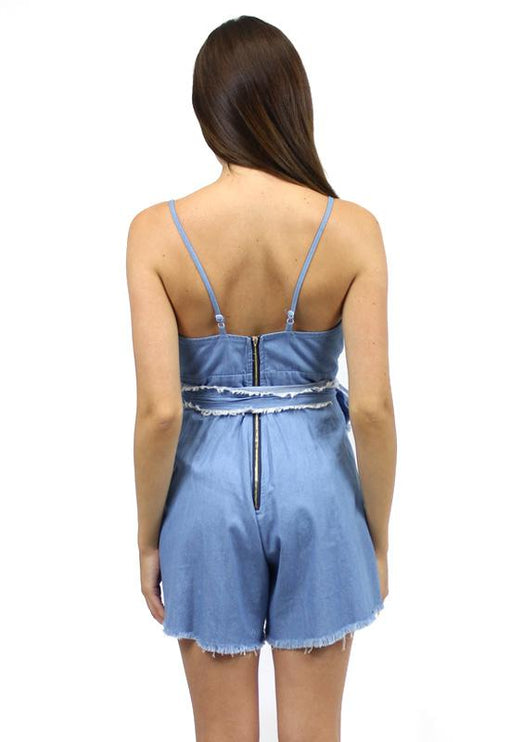 Now & Then Chambray Playsuit - BLUE