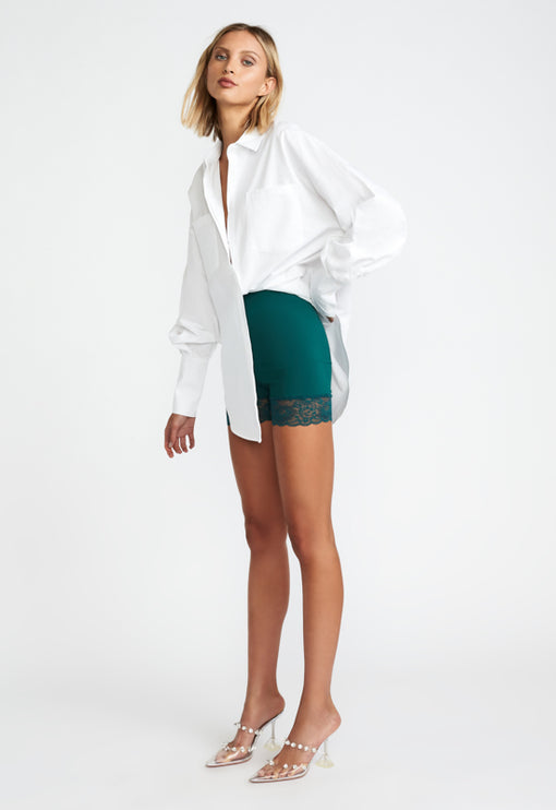 Lace Me Up Biker Short - FOREST GREEN