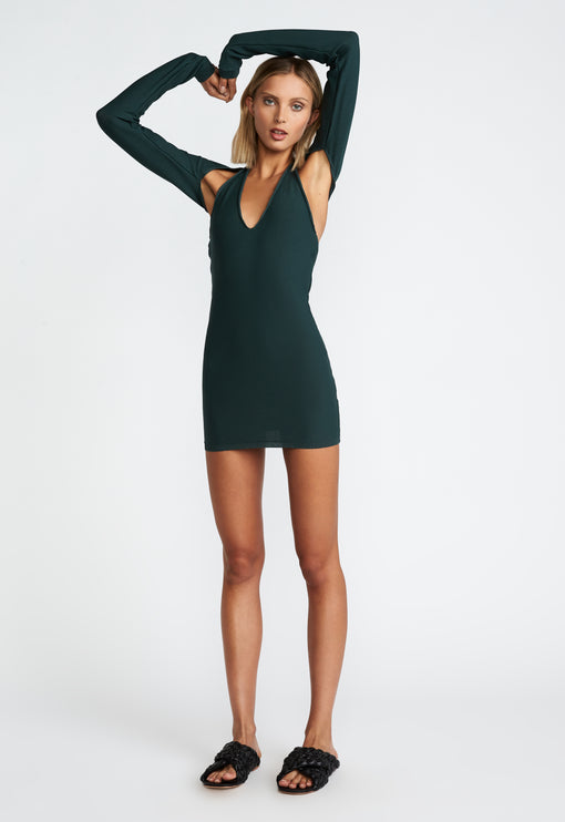 Heavenly Sent Mini Dress - FOREST GREEN