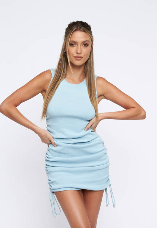 Military Minds Mini Dress - BABY BLUE
