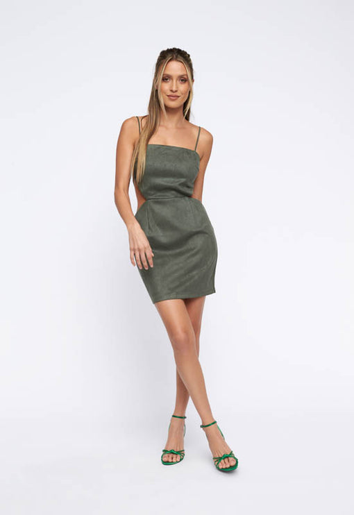 Steady As She Goes Mini Dress  - OLIVE