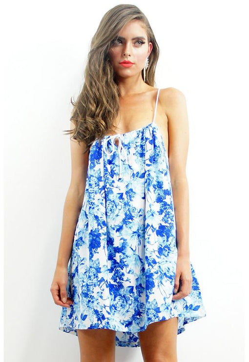 Frenzy Drawstring Dress - BLUE FLORAL