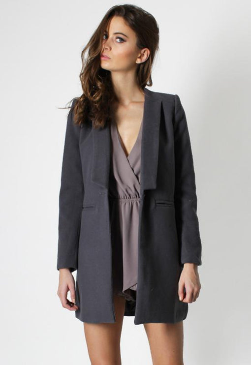 New Jupiter Lapel Coat - CHARCOAL