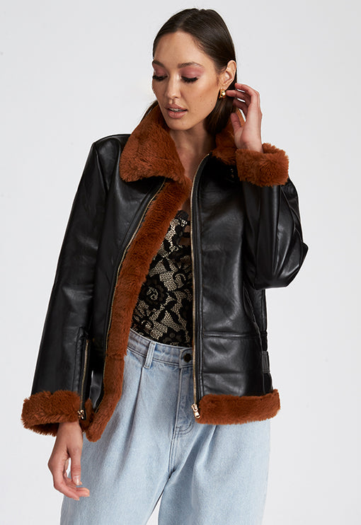 Empire Buckle Coat - BLACK AND BROWN