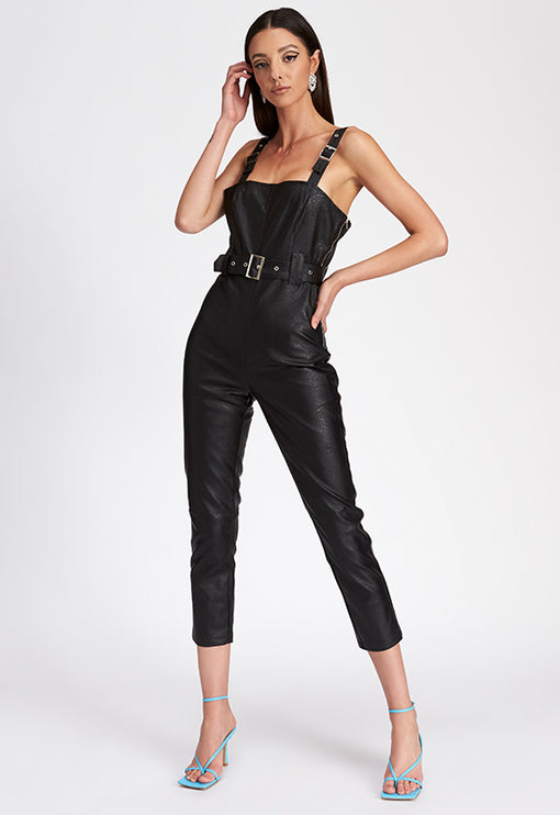 The Tatum Jumpsuit - BLACK LEATHER
