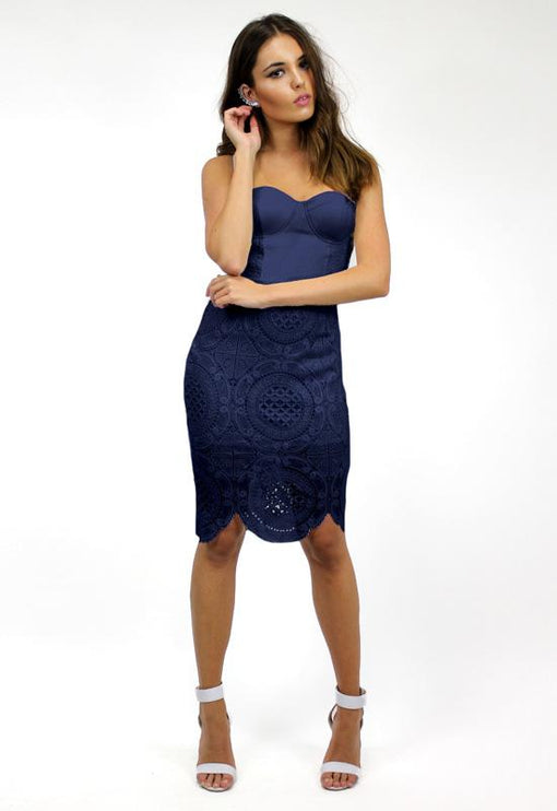 Bettina Bustier Lace Dress - NAVY