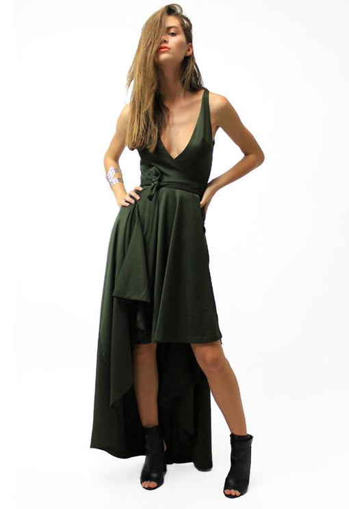 Best Revenge Wrap Dress - KHAKI