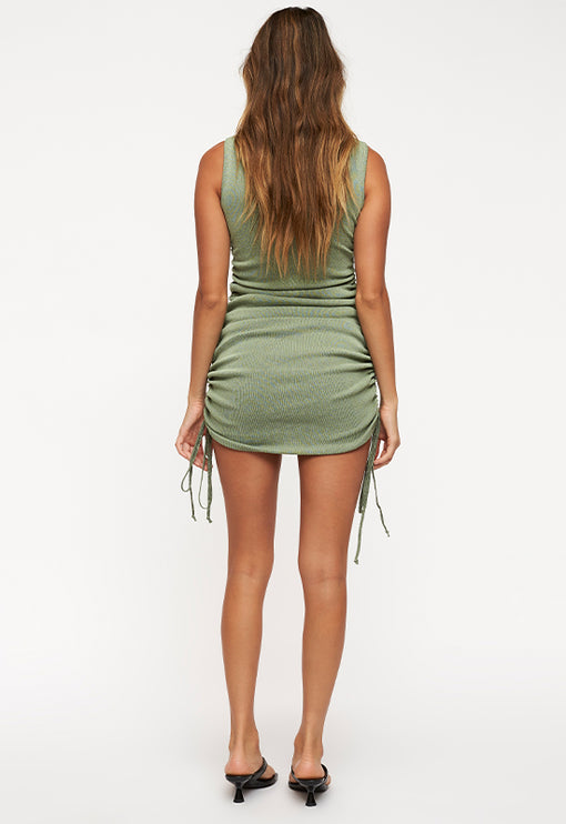 Military Minds Mini Dress  - SAGE