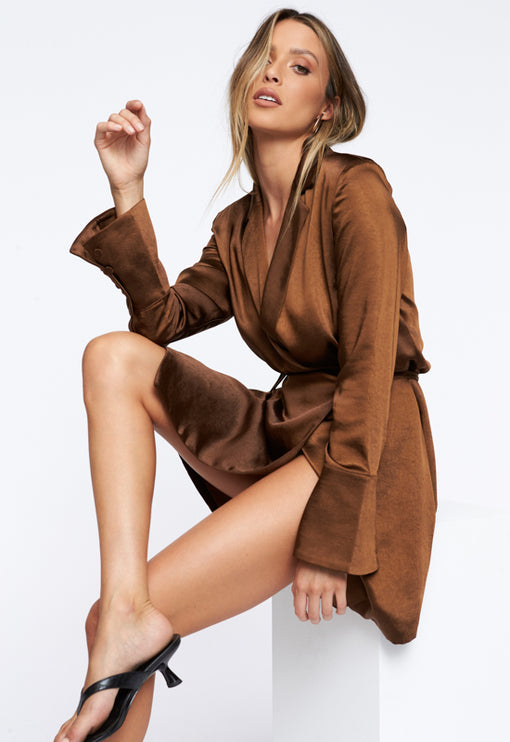 Catching Feelings Mini Dress - BROWN